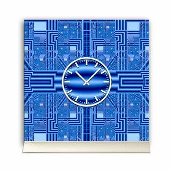 Tischuhr 30cmx30cm inkl. Alu-Ständer -grafisches Design PC Optik blau  geräuschloses Quarzuhrwerk -Kaminuhr-Standuhr TU3087 DIXTIME