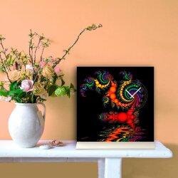 Tischuhr 30cmx30cm inkl. Alu-Ständer- abstraktes Design schwarz bunt geräuschloses Quarzuhrwerk -Kaminuhr-Standuhr TU3083 DIXTIME