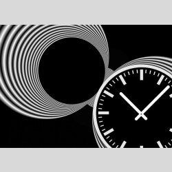 Tischuhr 30cmx30cm inkl. Alu-Ständer  -schlichtes zeitloses Design schwarz weiß  geräuschloses Quarzuhrwerk -Kaminuhr-Standuhr TU3079 DIXTIME