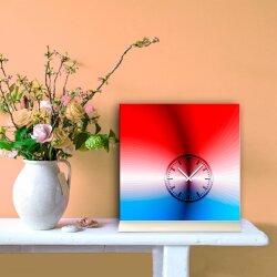 Tischuhr 30cmx30cm inkl. Alu-Ständer -schlichtes zeitloses Design rot blau geräuschloses Quarzuhrwerk - Kaminuhr-Standuhr TU3078 DIXTIME