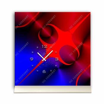 Tischuhr 30cmx30cm inkl. Alu-Ständer - abstraktes zeitloses Design rot blau geräuschloses Quarzuhrwerk -Kaminuhr-Standuhr TU3077 DIXTIME