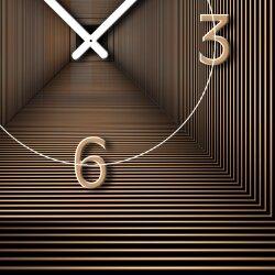 Wanduhr XXL 3D Optik Dixtime abstrakt bronze 30x90 cm hochkant leises Uhrwerk GL-007H