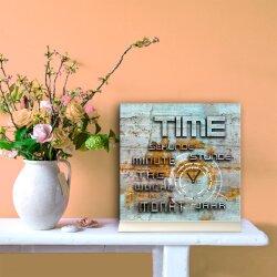 Tischuhr 30cmx30cm inkl. Alu-Ständer - Vintage-Look - geräuschloses Quarzuhrwerk - Kaminuhr - Standuhr TU3048 DIXTIME