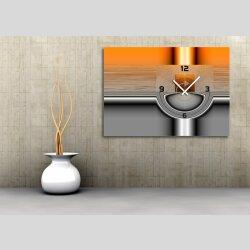 Wanduhren, Dixtime Designer Wanduhr, 30cm x 40cm, stilvolle Luxusuhr, orange silber, 6100-0009