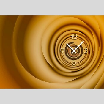 Dixtime Designer Wanduhr, 30cm x 40cm, Wanduhren, edle Wohnraumuhr, zeitloses Design, caramell gold braun Nuancen 6151-0009