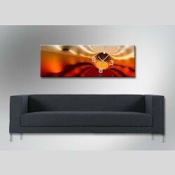 Wanduhren,30cm x 90cm elegante Wohnraumuhr, edles Design  raffinierter Optik-Effekt,  orange kupfer rot  braun Nuancen,  Dixtime Designer Wanduhr, 4287-0009