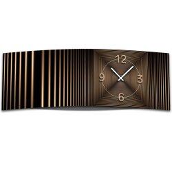 Wanduhr XXL 3D Optik Dixtime abstrakt bronze 30x90 cm...