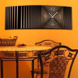 Wanduhr XXL 3D Optik Dixtime abstrakt bronze 30x90 cm leises Uhrwerk GL-007