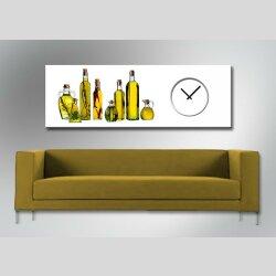 Dixtime Designer Wanduhr,30cm x 90cm Wanduhren, stylische Küchenuhr,puristisch, Olivenöl, Flaschen, weiß, 4175-0009