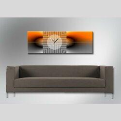Dixtime Moderne Designer Wanduhr, 30cm x 90cm Wanduhren, zeitloses Design,  edle Bürouhr, orange grau, 4167-0009