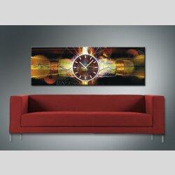Dixtime Designer Wanduhr, 30cm x 90cm Wanduhren, imposante Wohnraumuhr, edle Bürouhr, gedeckte Farben, Zahnräder, 3707-0009