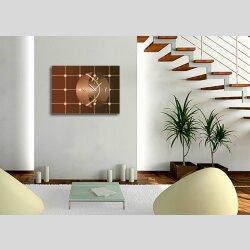 Wanduhr, Dixtime Designer Luxusuhr, 30cm x 40cm, edle Wanduhren, Wohnraumuhr klassisches Design, braun kupfer,  6147-0009