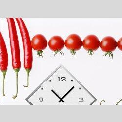 Dixtime Designer Wanduhr,30cm x 40cm Wanduhren, stylische Küchenuhr, rot weiß, Paprika Tomate Peperoni 4182-0009