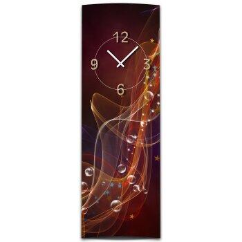 Wanduhr XXL 3D Optik Dixtime abstrakt rot dunkel 30x90 cm hochkant leises Uhrwerk GL-006H