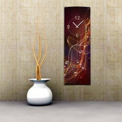 Wanduhr XXL 3D Optik Dixtime abstrakt rot dunkel 30x90 cm...
