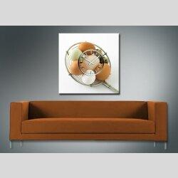 3661 Dixtime Designer Wanduhr 90cm x 90cm quadratische ausgefallene Küchenuhr Motiv Eier