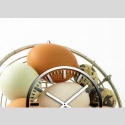 3661 Dixtime Designer Wanduhr 40cm x 40cm quadratische ausgefallene Küchenuhr Motiv Eier