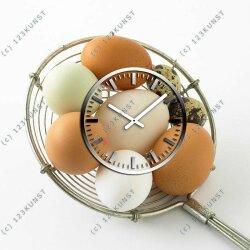 3661 Dixtime Designer Wanduhr 30cm x 30cm quadratische ausgefallene Küchenuhr Motiv Eier