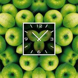 3571  Dixtime Designer Wanduhr 90cm x 90cm grüne Äpfel quadratische stilvolle Küchenuhr