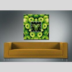 3571  Dixtime Designer Wanduhr 70cm x 70cm grüne Äpfel quadratische stilvolle Küchenuhr