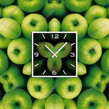 3571  Dixtime Designer Wanduhr 50cm x 50cm grüne Äpfel quadratische stilvolle Küchenuhr