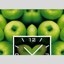 3571  Dixtime Designer Wanduhr grüne Äpfel quadratisch stilvolle Küchenuhr