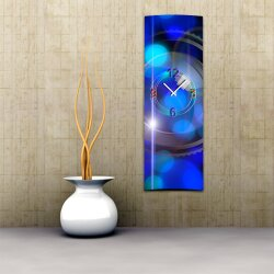 Wanduhr XXL 3D Optik Dixtime abstrakt blau 30x90 cm...