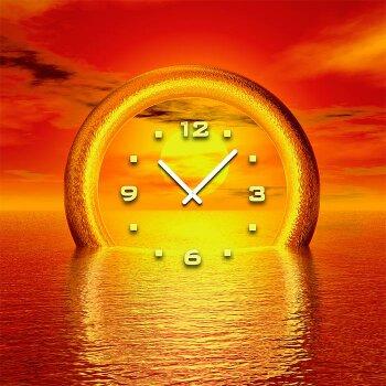 3088 Dixtime Designer Wanduhr 30cm x 30cm Sonnenuntergang quadratisch traumhafte Wohnraumuhr
