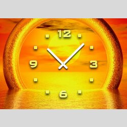 3088 Dixtime Designer Wanduhr, Sonnenuntergang, quadratische Wanduhren, traumhafte Wohnraumuhr,