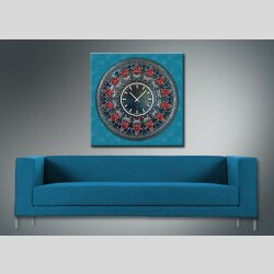 3800 Dixtime Designer Wanduhr, Wanduhren, Moderne Wohnraumuhr  50cm x 50cm